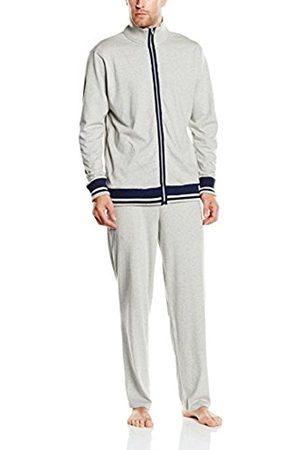 Men Pyjamas - HUBER Men's Loungewear Lounge Anzug Long Sleeve Pyjama Set - grey - XXXL (Manufacturer Size: 08)