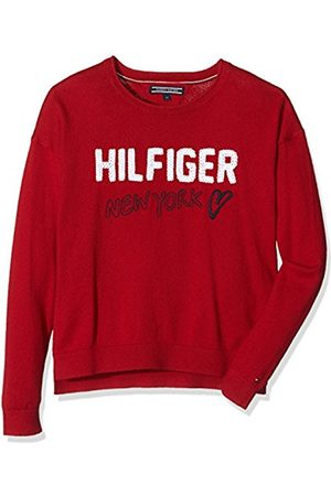 Tommy Hilfiger Girl's Embro CN Sweater L/S Jumper, -Rot (Chili Pepper 693)