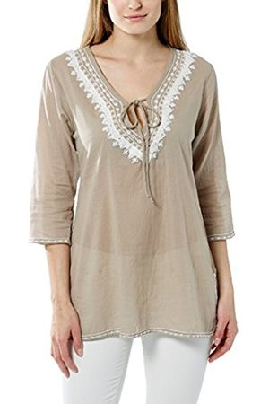 Women Blouses - Women's Tunic With Embroidery, Pearls and Rhinestones