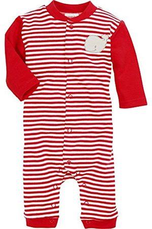 Bathrobes - Schnizler Unisex Baby Schlafoverall Wal, Rot geringelt, Oeko-Tex Standard 100 Sleepsuit, (Rot/weiß)