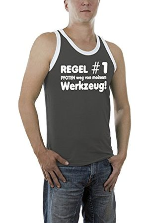 Men Vests & Camis - Touchlines Men's Regel Nr.1 Pfoten Weg Kontrast Vest, -Grau (Darkgrey 17)