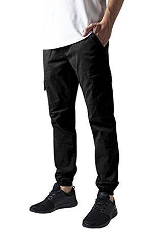Men Cargo Trousers - Urban classics Men's Washed Cargo Twill Jogging Pants Trousers, -Schwarz ( 7)