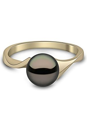 Women Rings - 9 ct Yellow Gold Semi Round Cultured Freshwater Pearl Ring - Size P