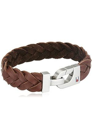 Tommy Hilfiger Men's Brushed Stainless-Steel and Thick Braided Leather Bracelet
