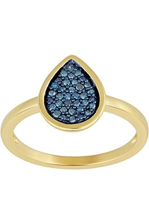 Women Rings - Gold Plated Sterling Silver Diamond Ring