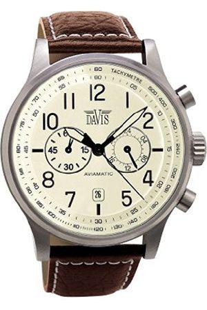 Davis 1023 - Mens Aviation Watch Chronograph Waterresist 50M Beige Dial Date Leather Strap