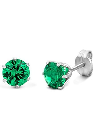 Miore Earrings Women White Gold studs Solitaire Emerald 9 Kt/375