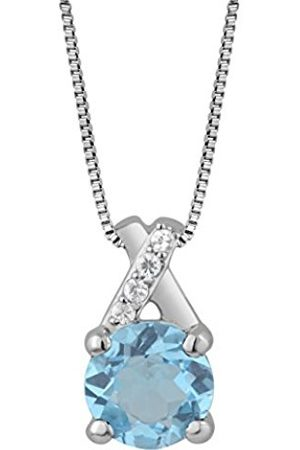 Women Necklaces - Sterling Silver Crossover Gemstone Pendant With Chain