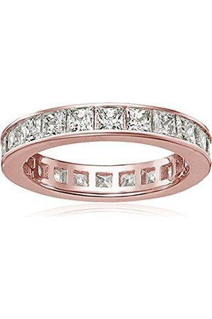 Women Rings - Rose Gold-Plated Sterling Silver Swarovski Zirconia Channel Princess All-Around Ring