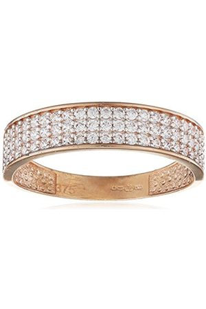 Rings - 9 ct Rose Half Eternity Ring with 3 Rows Cz Stones