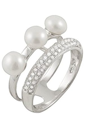 Women Rings - Sterling Silver with 3 Freshwater Pearl and Cubic Zirconia Ring