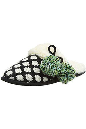Dearfoams Women's Fairisle Closed Toe Scuff with Poms and Memory Foam Open Back Slippers