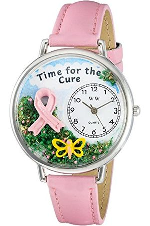 Whimsical Watches Time for the Cure Pink Leather and Silvertone Unisex Quartz Watch with Dial Analogue Display and Leather Strap U-1110001