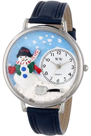 Whimsical Watches Christmas Snowman Red Leather and Silvertone Unisex Quartz Watch with Dial Analogue Display and Leather Strap U-1220008