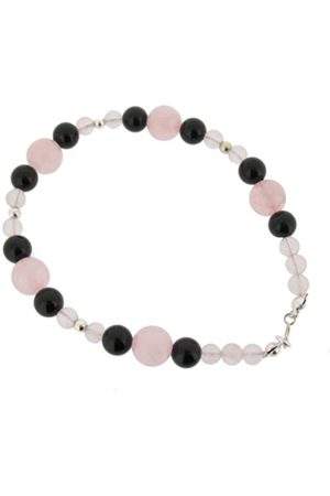 Earth Rose Quartz and Black Onyx Beaded Bracelet at 19cm in Length
