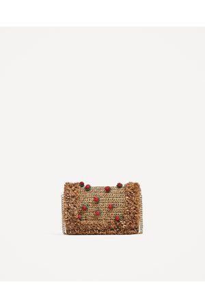Zara RAFFIA CROSS-BODY BAG WITH STRAWBERRIES DETAIL