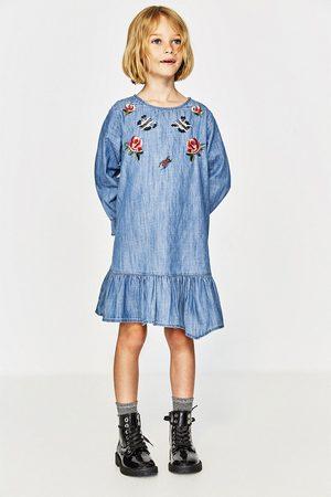 Zara EMBROIDERED CHAMBRAY DRESS
