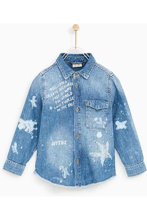 Zara FADED DENIM SHIRT WITH STAINS