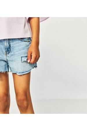 Zara RIPPED DENIM AND GINGHAM BERMUDA SHORTS