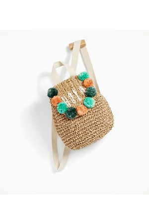 Zara RAFFIA BACKPACK WITH POMPOMS