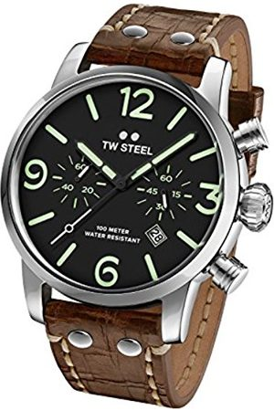 TW Steel Maverick Men's Quartz Watch with Black Dial Chronograph Display and Brown Leather Strap MS14