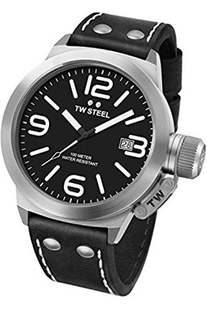 flow Canteen Leather Quartz Watch with Black Dial Analogue Display and Black Leather Strap CS2