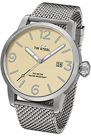 TW steel Maverick Unisex Quartz Watch with Beige Dial Analogue Display and Grey Stainless Steel Bracelet MB1