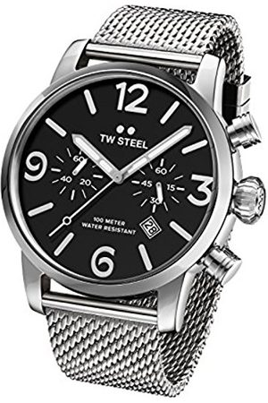 TW steel Maverick Men's Quartz Watch with Black Dial Chronograph Display and Grey Stainless Steel Bracelet MB14