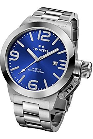 TW steel Canteen Unisex Quartz Watch with Blue Dial Analogue Display and Silver Stainless Steel Bracelet CB11