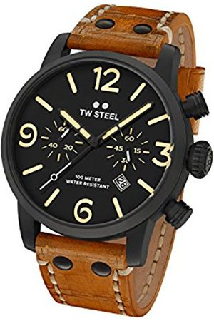 flow Maverick Unisex Quartz Watch with Black Dial Chronograph Display and Brown Leather Strap MS33