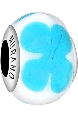 Sterling Silver White & Turquoise Flower Murano Bead