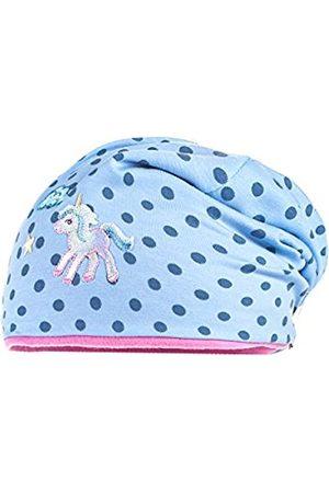 maximo Baby Girls' Jersey Beanie Einhorn, Gepunktet Hat, Mehrfarbig (Hellblau/Denim-Punkte 81)