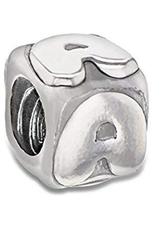 Sterling A Cube Bead