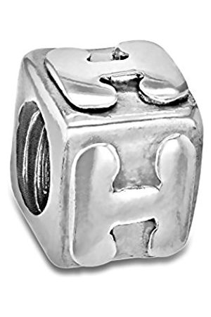 Sterling H Cube Bead