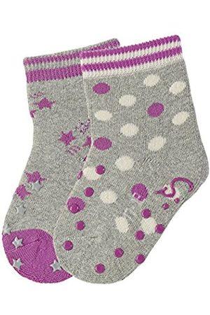 Sterntaler Baby Girls' Abs-Krabbelsöckchen DP Sterne Calf Socks-Pack of 2-Grau (Silber Melange 542)