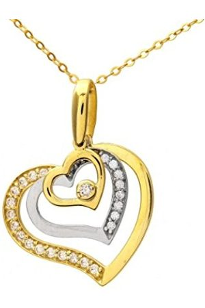 Women Necklaces - Citerna 9 ct and White Cubic Zirconia Triple Heart Pendant and Chain of 46 cm
