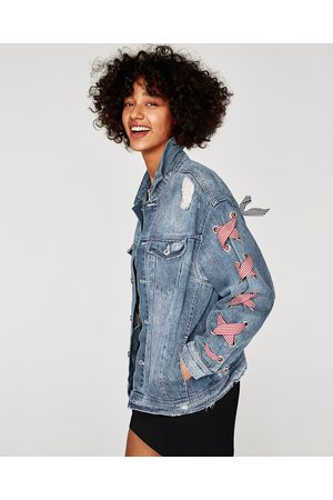 Zara DENIM JACKET WITH BOWS