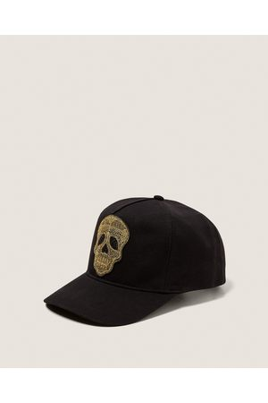 Zara CAP WITH GOLD SKULL DETAIL