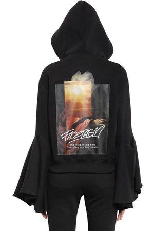Women Sweatshirts - HOODED FLARED SLEEVE COTTON SWEATSHIRT