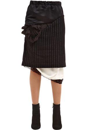 Women Skirts - PATCHWORK SATIN & PINSTRIPE WOOL SKIRT