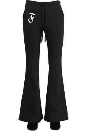 Women Wide Leg Trousers - FLARED COTTON SWEATPANTS