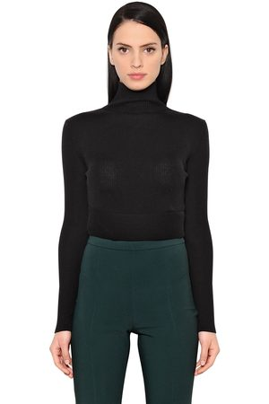 Women Jumpers & Sweaters - ANTONIO BERARDI WOOL & SILK CROPPED SWEATER