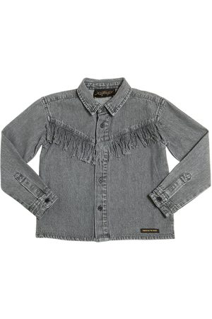 Girls Shirts - Finger in the Nose COTTON CHAMBRAY SHIRT W/ FRINGE
