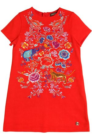 Girls Dresses - Roberto Cavalli EMBROIDERED CREPE DRESS