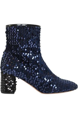 Women Ankle Boots - Rochas 60MM SEQUINED VELVET ANKLE BOOTS