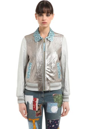 Women Leather Jackets - Tommy Hilfiger LAMINATED LEATHER BOMBER JACKET