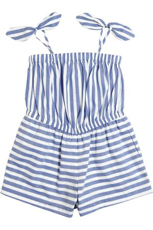 Milly STRIPED COTTON CHAMBRAY JUMPSUIT
