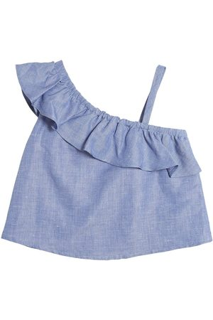 Milly COTTON & LINEN BLEND CHAMBRAY TOP