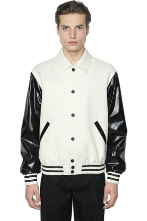 Men Leather Jackets - Calvin Klein FAUX LEATHER & WOOL BOMBER JACKET