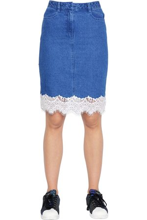 COTTON DENIM SKIRT W/ LACE TRIM